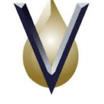 Venoco Logo Navy 3D V with tan droplet behind