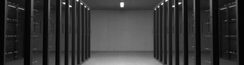 Black and white datacenter photo